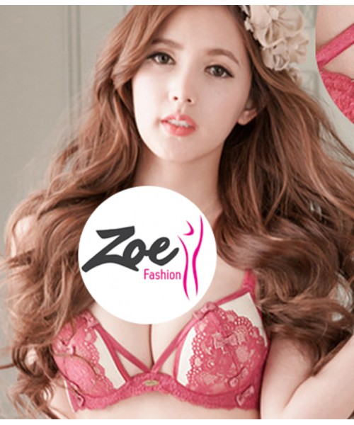 Zoey New Arrival Summer Style Lace Embroidery Women Push Up Temptation Underwear Bra Set
