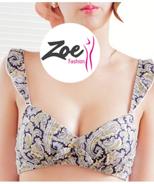 Zoey European style padded without ring flower print multicolor Bra Set