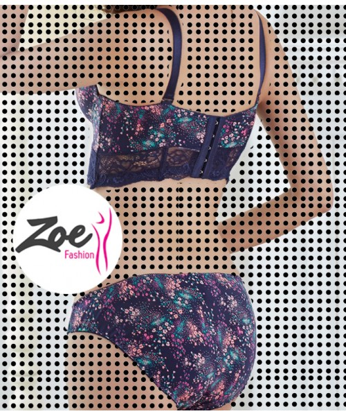 Zoey high quality French Lace embroidery Blue bra set
