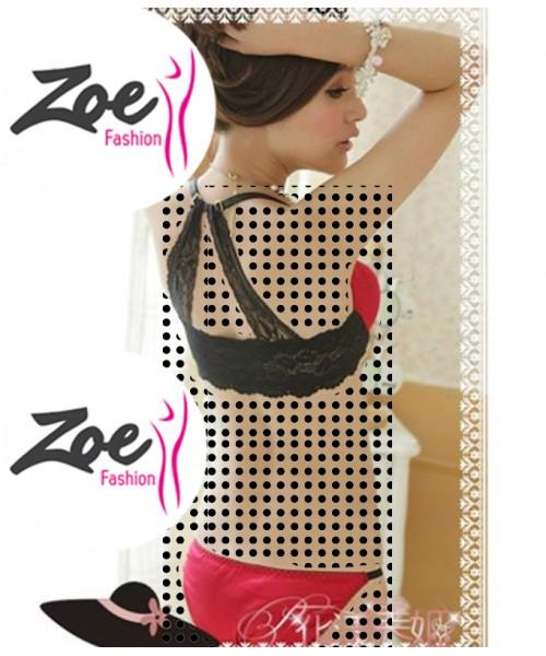 Zoey luxury bridal women lingerie, V-neck back lace Front Open push up bra set