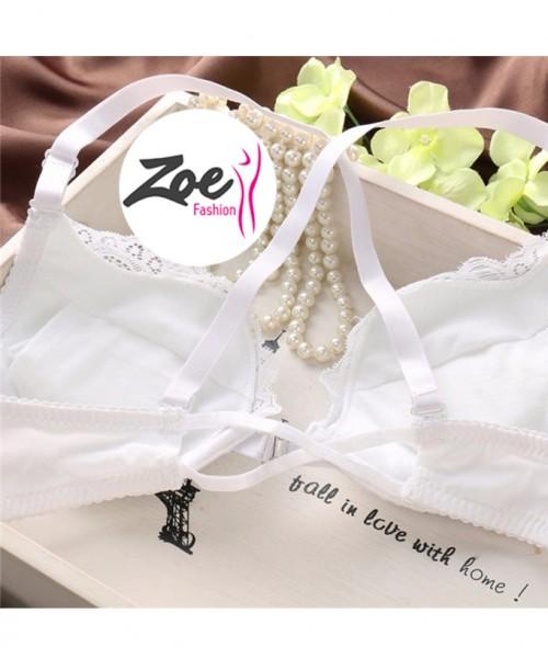Zoey Best Women Front Open Front Buckle Jewel Push Up Padded Bra Set