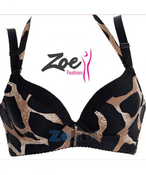 Zoey Lady Leopard Push Up Underwire Fancy Bra Brassiere