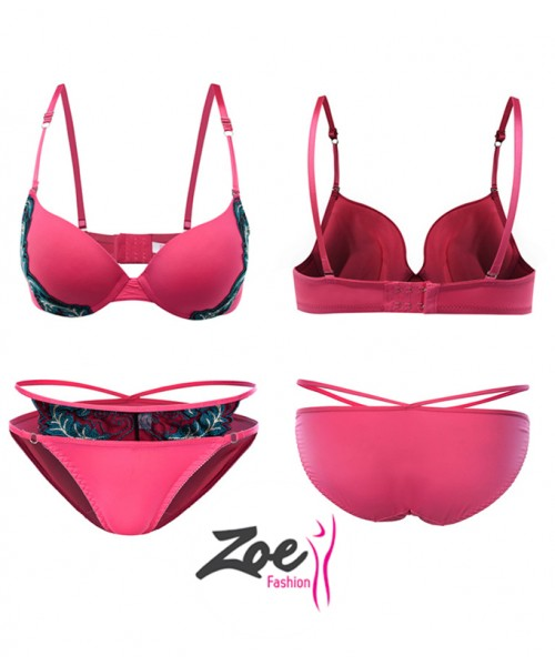 Zoey Push Up Appliques Bra Set Underwear Women Lace Lingerie Bra set