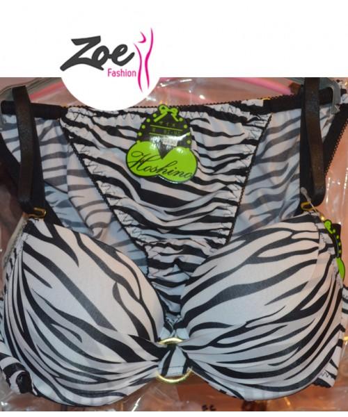 Zoey Intimates Japanese Animal Zebra Print super bra push up white and black Princess Set