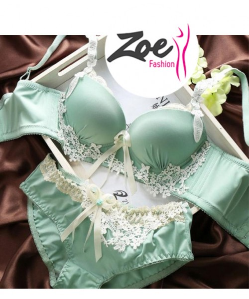 Zoey Girls Womens Embroidered Lace Underwear Push Up Bra Sets Panties Lingerie