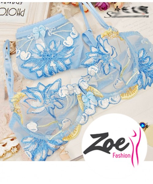 Zoey White Gauze Embroidery Ultrathin Section Completely Transparent Hollow Out Temptation Bra Set