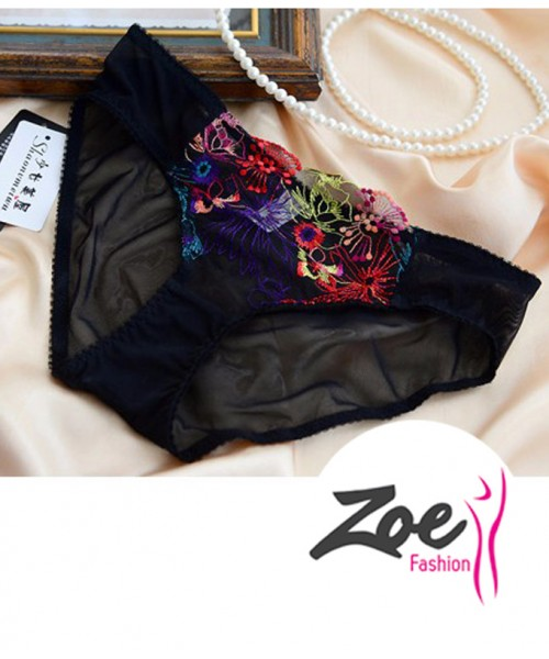 Zoey New Style Net Embroidery Thin Transparent Multicolor Bra set