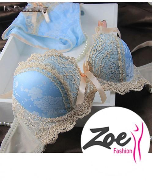 Zoey Lady VS Women Luxury Lingerie Suit Women Intimates Embroidery Push Up Lace Bra Panty Set