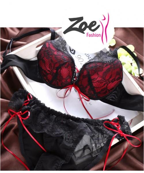 Zoey Hot Sales Fashion Front Lace Thin Deep V-neck Push up Vintage Solid Color Bra Set