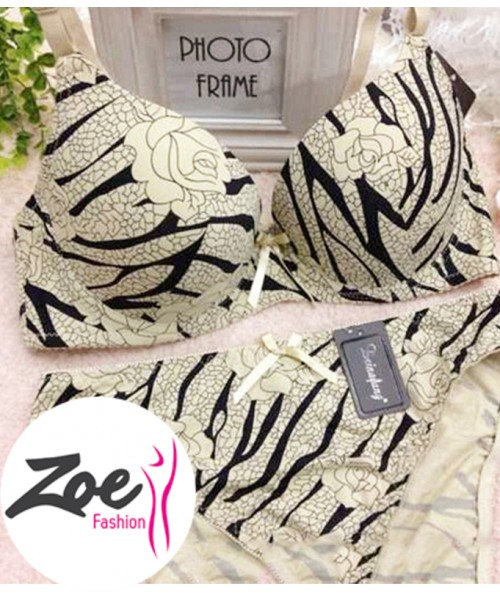 Zoey girl queen soft silk smooth Tiger print plus size D cup bra set