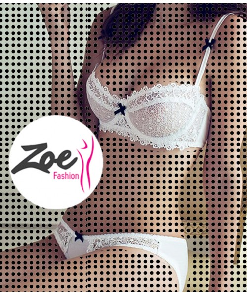 Zoey Ultra Thin Plus Size D Cup Floral Transparent Embroidery Deep V Womens Underwire Lace Bra Set