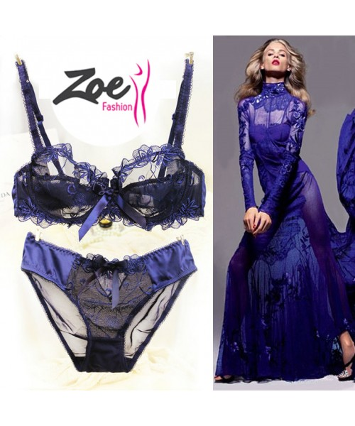 Zoey New Fashion ultra thin breathable Plus size D Cup lace transparent bra set