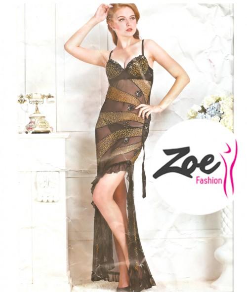 Zoey long stylish net nightwear dress