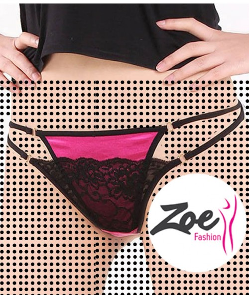 Zoey Women 2 Layer Lace Briefs Hollow Underwear Breathable Comfort Style Knickers Thongs