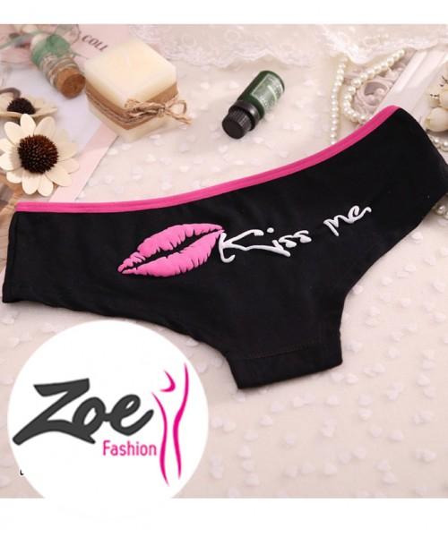 Zoey Cotton Kiss Me Letter Lips Print Panties Women Briefs Fitness Girls Underwear