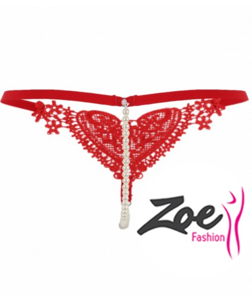 Zoey Front Love Hearts Beads Crotch Bridal Exotic Thong Pearl Panty