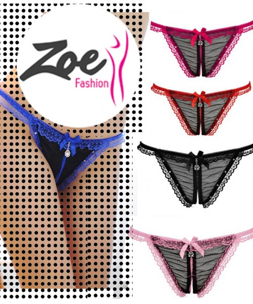 Zoey Hot Selling Women Panties Perspective Diamond Lace Underwear Low Rise Thong Nightwear