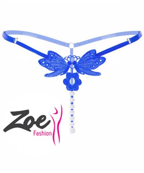 Zoey Adjustable Size Pendant Lady Embroidery Pearl G String Women panties Low Waist Thongs Underwear Briefs Beads Panties
