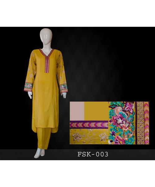Arabic Lawn Chiffon 3Pcs Embroidered Suit