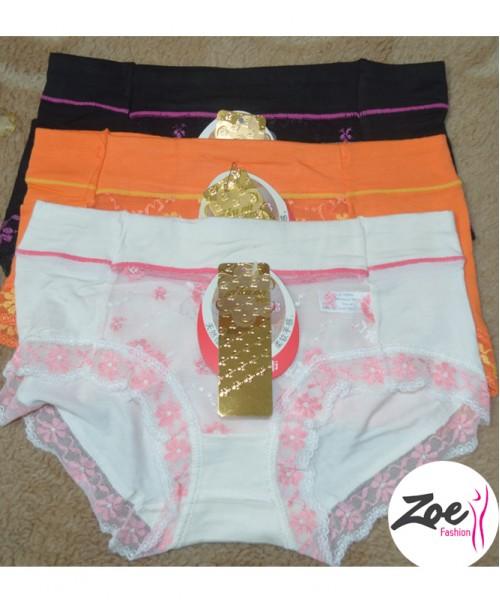 Zoey Fancy Cotton Net Panty Set 3Pcs